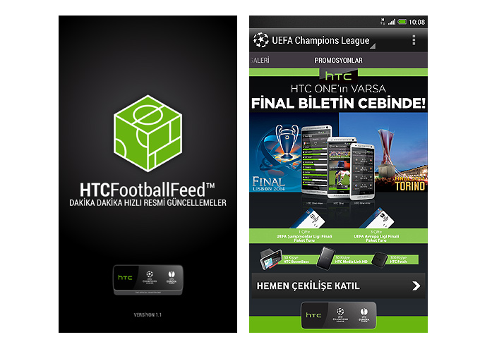 HTC FootballFeed Android akıllı telefon uygulaması