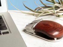 Ahşap gövdeli ve metal aksamlı bilgisayar faresi